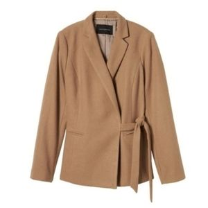 Wool Blend Wrap-Tie Faux Fur Collared Blazer